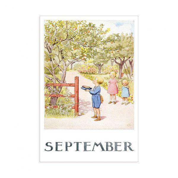 Cartolina mese Settembre Elsa Beskow
