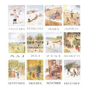 Set 12 cartoline mesi del anno Elsa Beskow