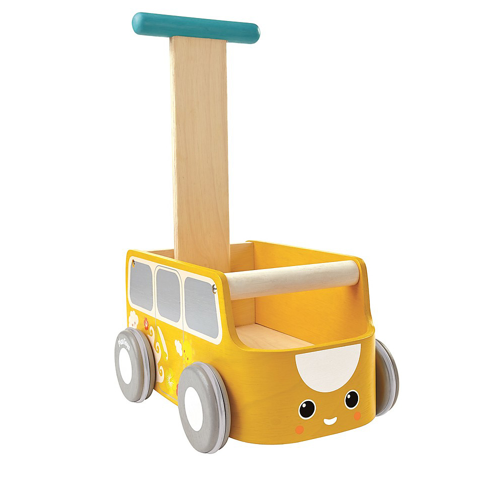 Carrellino primi passi autobus giallo Plan Toys