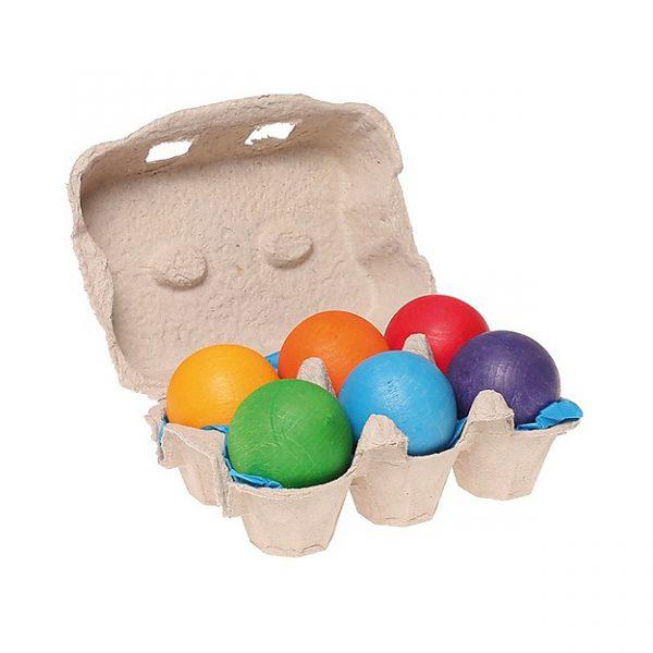 6 palline legno grandi colori primari Grimm's