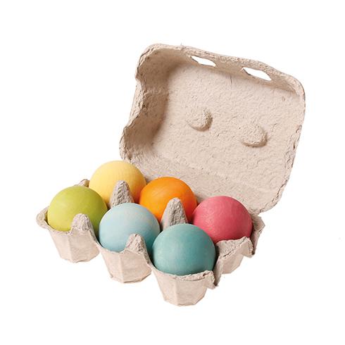 6 palline legno grandi colori pastello Grimm's