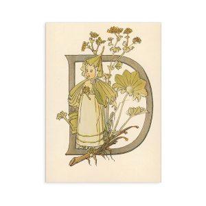 Cartolina lettera D - Alfabeto fiorito