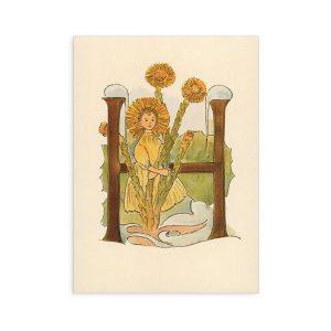 Cartolina lettera H - Alfabeto fiorito