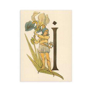 Cartolina lettera I - Alfabeto fiorito
