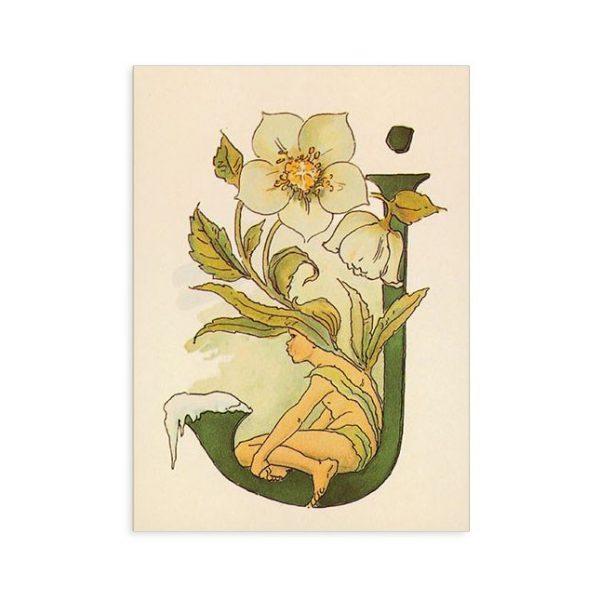 Cartolina lettera J - Alfabeto fiorito
