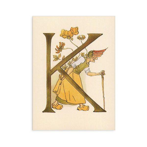 Cartolina lettera K - Alfabeto fiorito