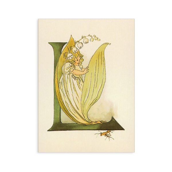 Cartolina lettera L - Alfabeto fiorito