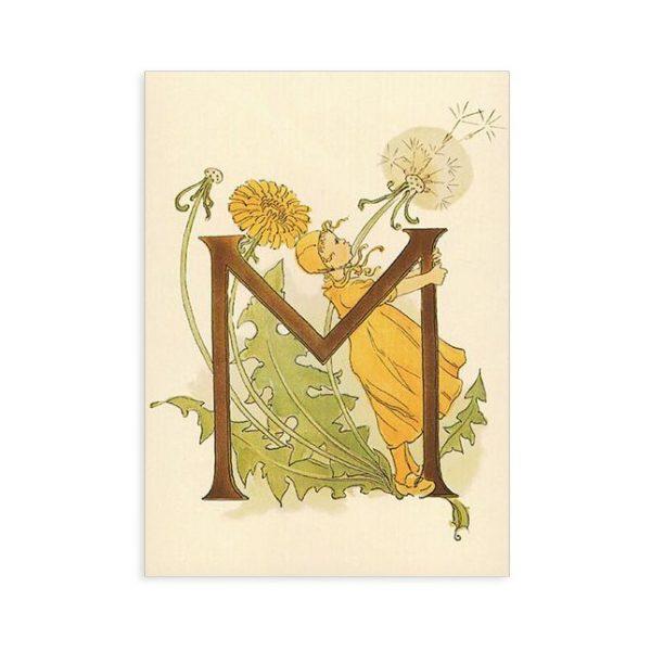 Cartolina lettera M - Alfabeto fiorito