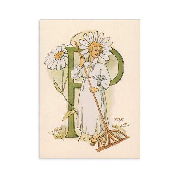Cartolina lettera P - Alfabeto fiorito