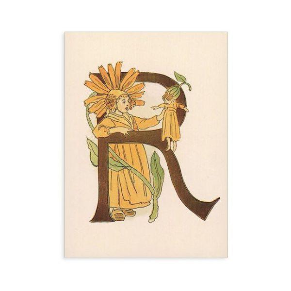 Cartolina lettera R - Alfabeto fiorito