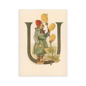 Cartolina lettera U - Alfabeto fiorito