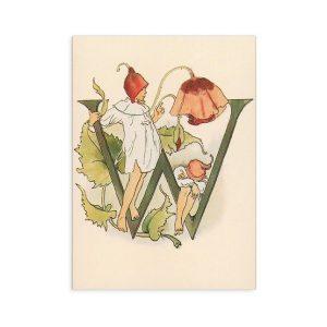 Cartolina lettera W - Alfabeto fiorito