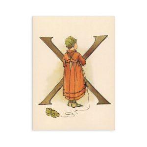 Cartolina lettera X - Alfabeto fiorito