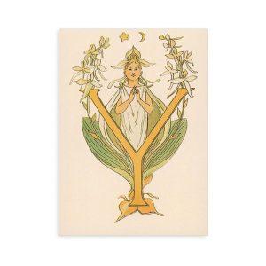 Cartolina lettera Y - Alfabeto fiorito