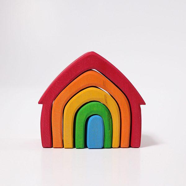 Casa impilabile legno colori arcobaleno Grimm's - 5 pezzi