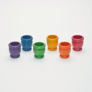 Set 6 porta uovo arcobaleno gioco educativo in legno Grapat