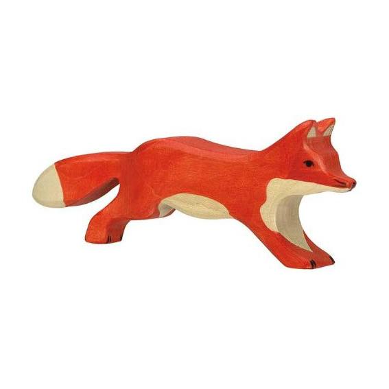 Figura legno volpe grande che corre - Holztiger