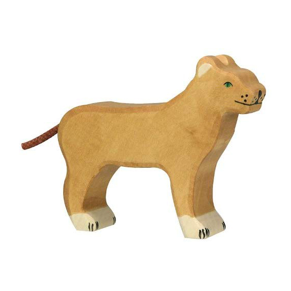 Figura legno leonessa - Holztiger