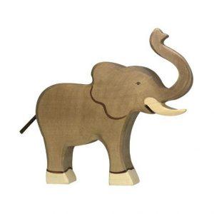Figura legno Elefante proboscide alzata - Holztiger