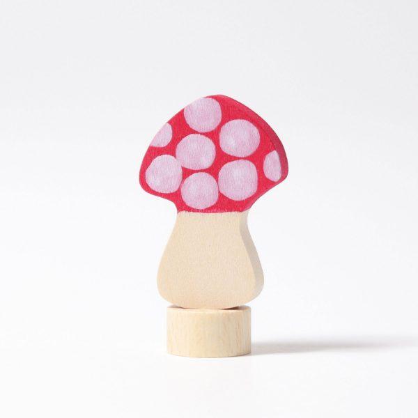 Figura decorativa legno fungo rosso Grimm's