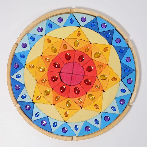 Mandala sole in legno con vassoio Grimm's
