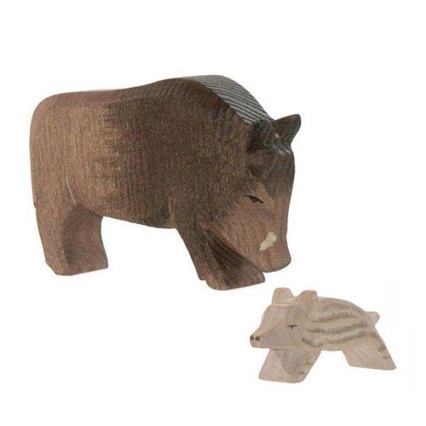 Set figure legno Cinghiale con piccolo - Ostheimer