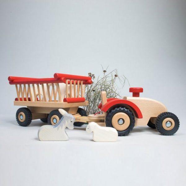 Gioco di legno trattore con rimorchio Ostheimer