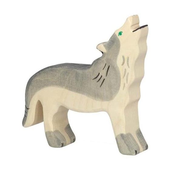 Figura legno lupo che ulula - Holztiger