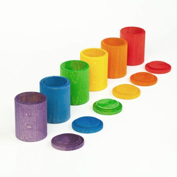 Set 6 bicchieri arcobaleno con coperchio Grapat