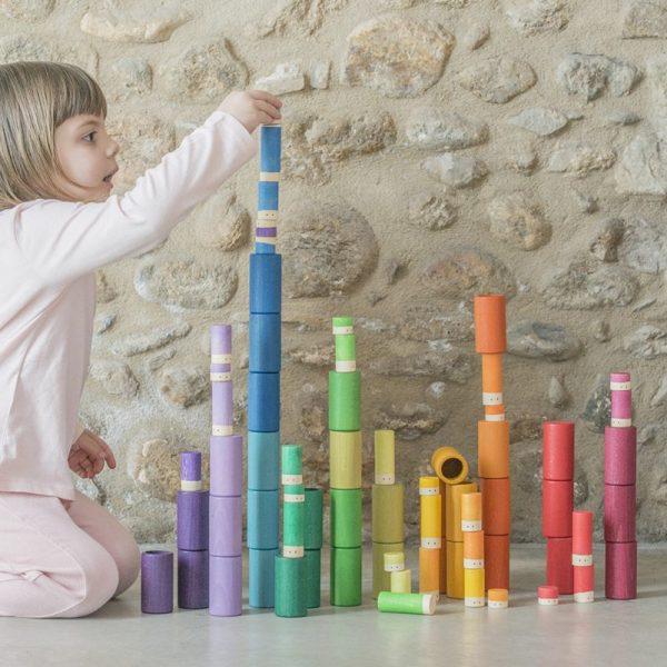 Set 72 tubi e cilindri arcobaleno Lola Grapat