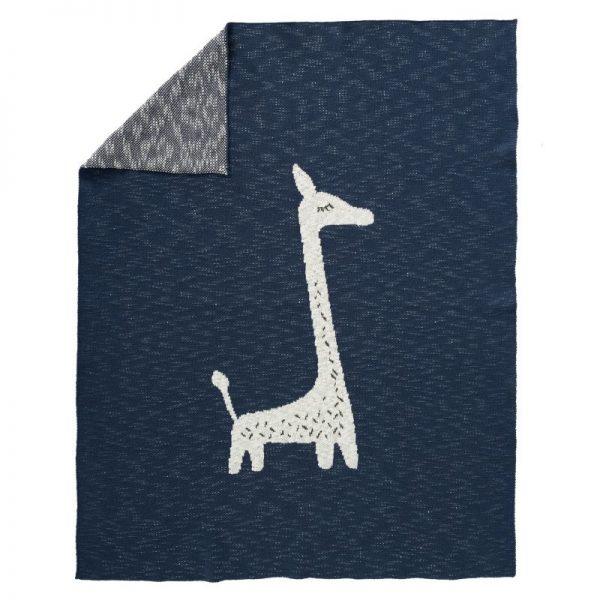 Coperta a maglia cotone bio Giraf indigo Fresk