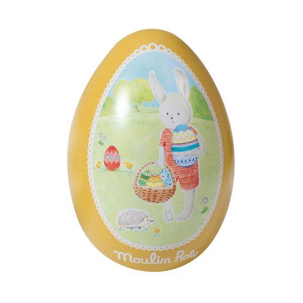 Uovo di latta giallo La grande famille Moulin Roty