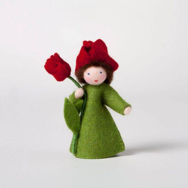 Figura Waldorf Fata Red Tulip Ambro-dolls