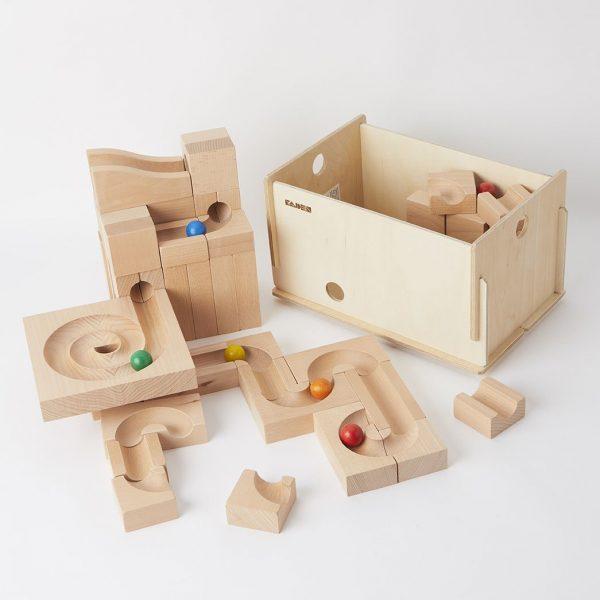 Pista biglie in legno Set misto 64 pezzi Kaden