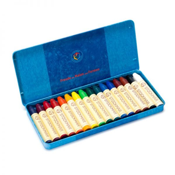 Set 16 pastelli a cera scatola latta Stockmar