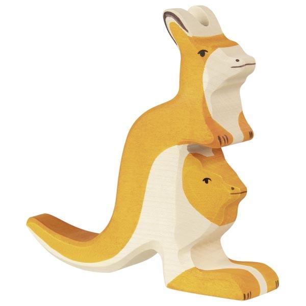 Figura legno Canguro con cucciolo - Holztiger