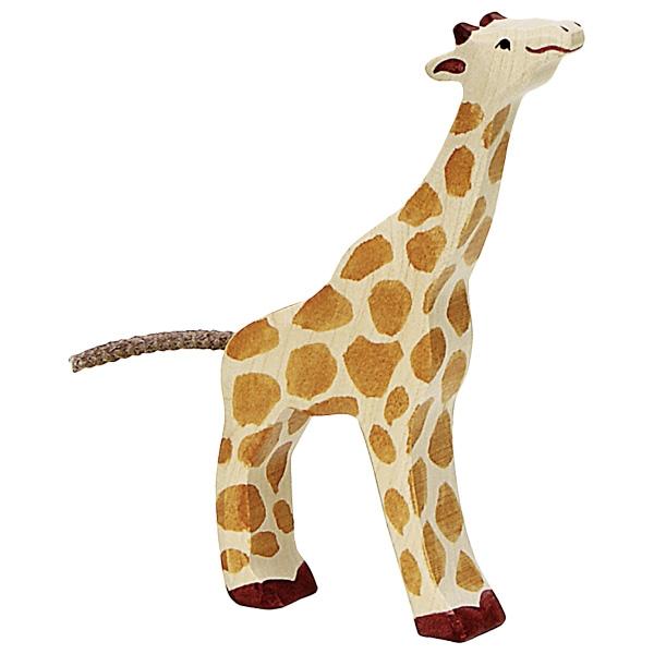 Figura legno Giraffa piccola che mangia - Holztiger