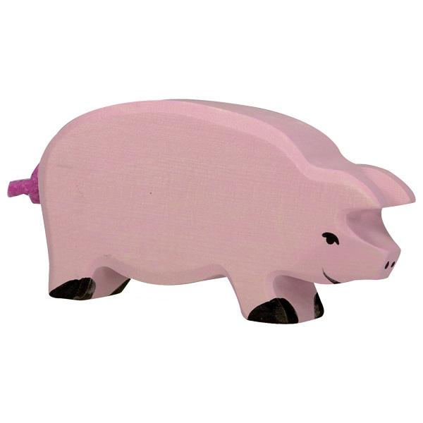 Figura legno Maiale rosa - Holztiger