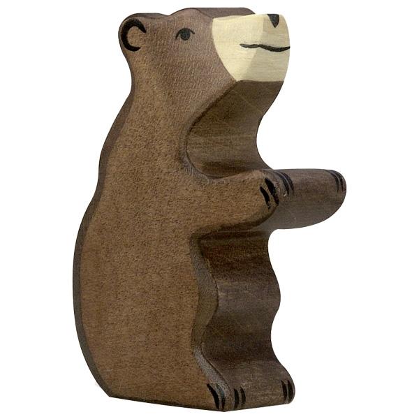 Figura legno piccolo orso seduto - Holztiger