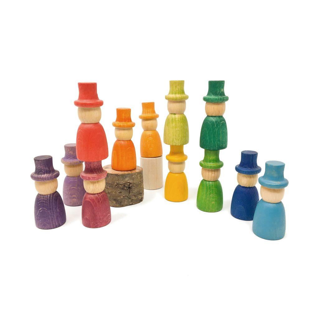 Set 12 Nins® Wizards arcobaleno legno Grapat
