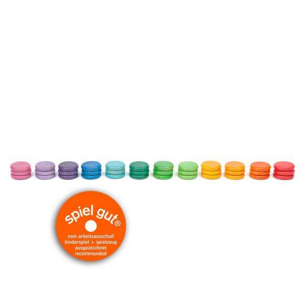 Set 36 monete 12 colori arcobaleno legno Grapat