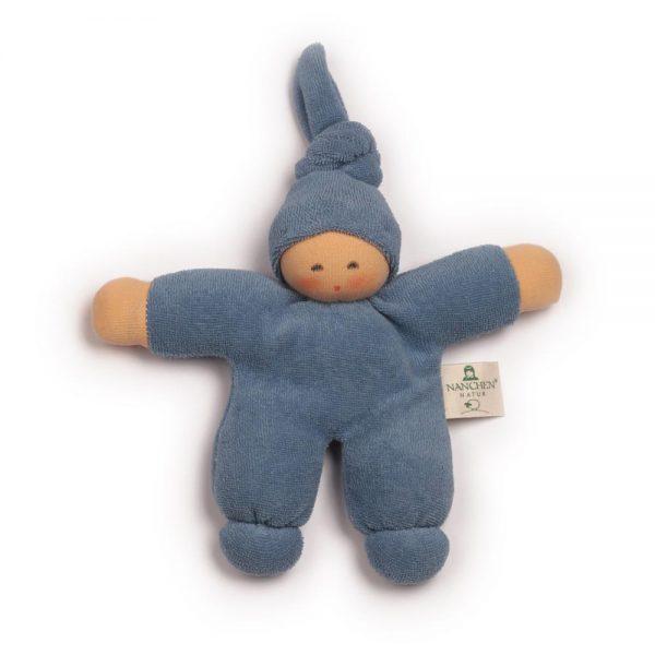 Bambola bebè nodino blu - cotone bio Nanchen