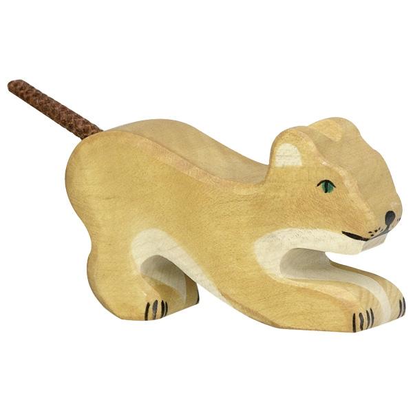 Figura legno cucciolo leone che gioca - Holztiger