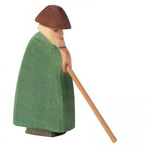 Figura legno Pastore con bastone - Ostheimer