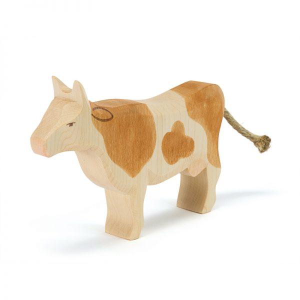 Figura legno mucca pezzata marrone - Ostheimer