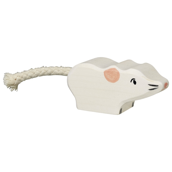 Figura legno topo bianco - Holztiger
