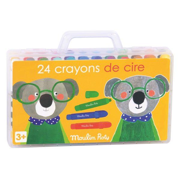 Set 24 pastelli a cera in valigetta Popipop Moulin Roty