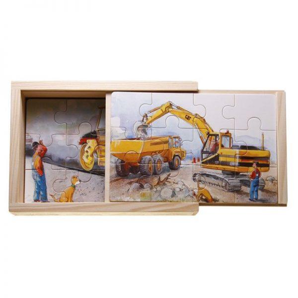 Set 4 Puzzle legno in scatola macchinari da lavoro
