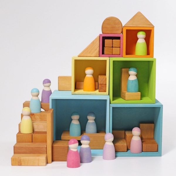 Cubi impilabili Large rainbow pastel set Grimm's