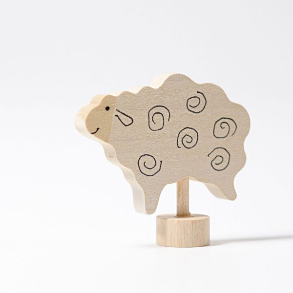 Figura decorativa legno pecora bianca Grimm's